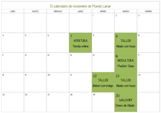 Calendario de actividades de Mundo Lanar para el mes de noviembre 2013