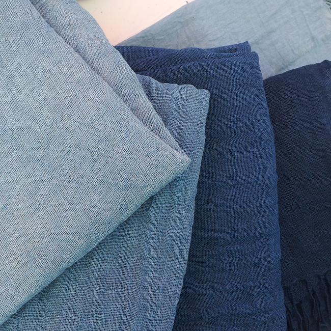 Lino orgánico teñido con índigo biológico *** Organic linen hand-dyed with indigo