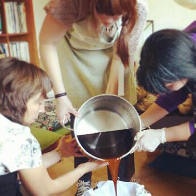 Colando el dyebath