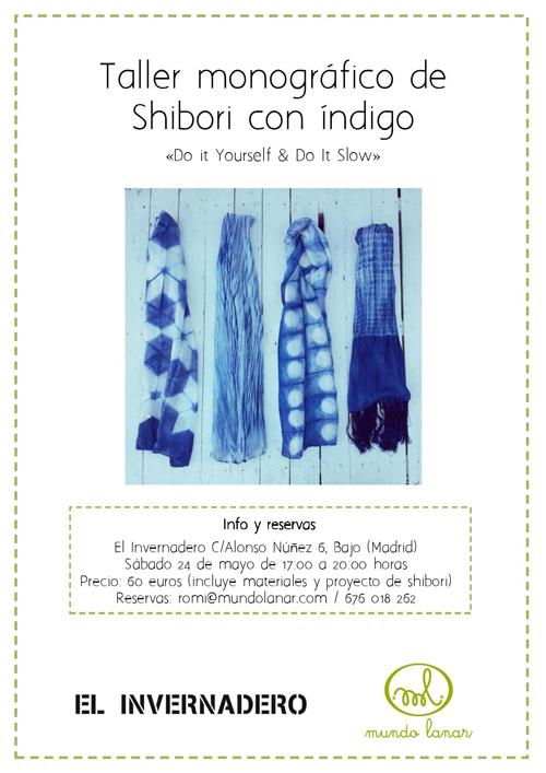 Cartel Taller de Shibori con Índigo en el Invernadero