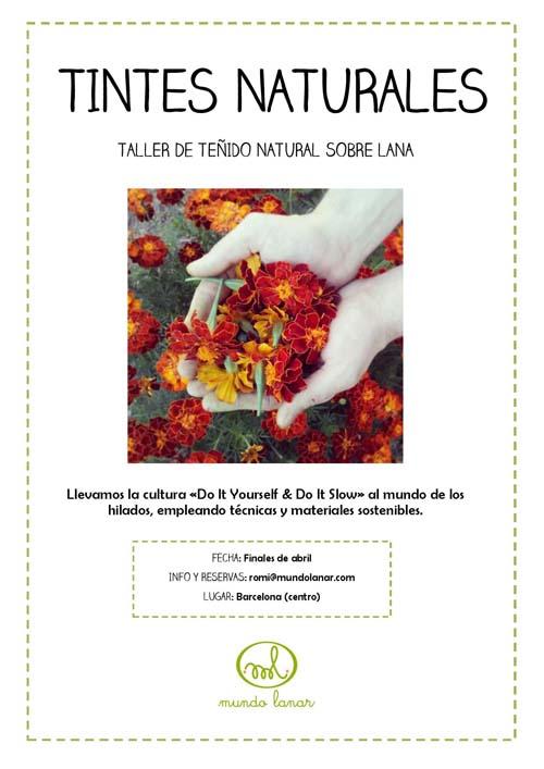 Cartel taller de tintes naturales en Barcelona