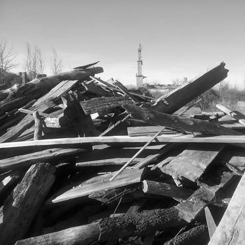 Tablas de un antiguo tejado